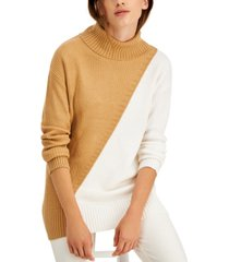 alfani asymmetrical-print ribbed turtleneck sweater, created for macy's