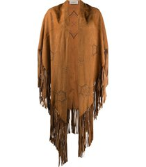 golden goose perforated fringe cape - brown