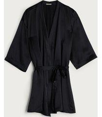 quimono de seda  intimissimi seda preto - preto - feminino - dafiti