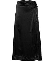 heavy satin knälång kjol svart ganni