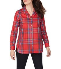 women's foxcroft pandora emerson tartan wrinkle-free tunic shirt, size 12 - red