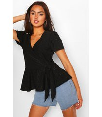 broderie anglaise wrap top, black