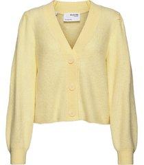 slflipa ls knit short cardigan b stickad tröja cardigan gul selected femme