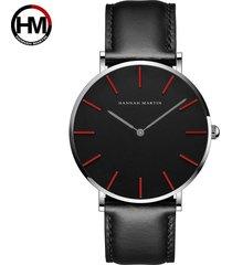 relojes de cuarzo de nylon para hombres y mujeres-negro