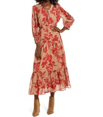 women's sam edelman floral long sleeve tiered midi dress, size 12 - red