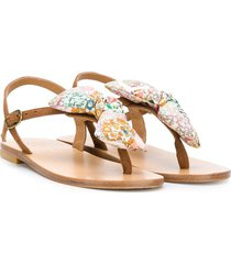 bonpoint bow detail thong sandals - brown