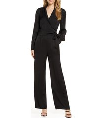 women's adelyn rae shyla long sleeve textured satin jumpsuit