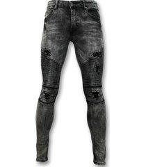 skinny jeans true rise trendy biker jeans - grijze spijkerbroek - 3010