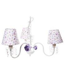 lustre 3l cristais 3 flores p bebê infantil menina potinho de mel lilás