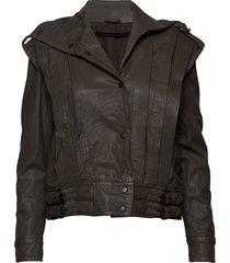enola leather jacket läderjacka skinnjacka brun mdk / munderingskompagniet