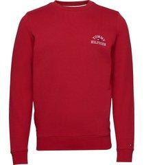 basic embroidered sweatshirt sweat-shirt tröja röd tommy hilfiger