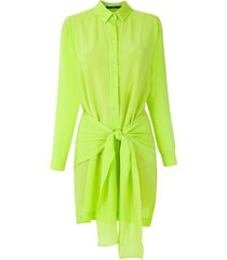 eva silk shirt dress - green