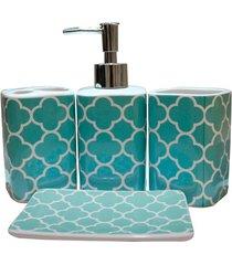 kit de acessórios para banheiro em cerâmica com 4 peças azul e branco