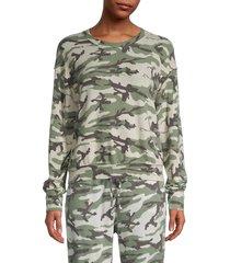 michael stars women's camo-print sweatshirt - olive multi - size m