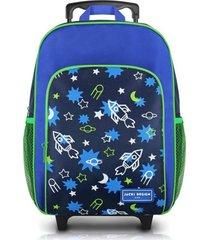 mochila com rodinhas infantil tam. g foguete jacki design sapeka azul marinho