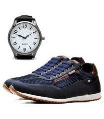 sapatênis casual com relógio new dubuy 1100la azul