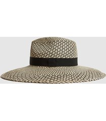 reiss jessica - star weave panama hat in neutral, womens