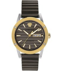 versace men's theros automatic textured-striped stainless steel leather watch