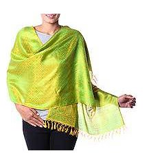 varanasi silk shawl, 'banaras yellow' (india)