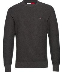 bold textured cotton sweater gebreide trui met ronde kraag grijs tommy hilfiger