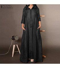 zanzea mujer de manga larga sudaderas con capucha del vestido largo maxi camisa de vestir casual de cuerpo entero llano -negro
