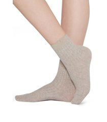 calzedonia short ribbed socks with cotton and cashmere woman nude size 39-41