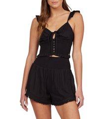 women's roxy endless beauty smocked shorts, size small - black