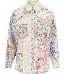 paisley patchwork denim jacket etro