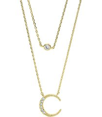 crystal crescent pendant layered necklace