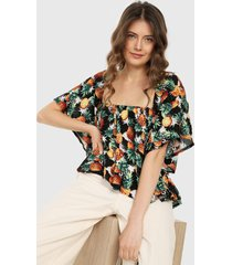 blusa negro-blanco-naranja-verde paris district