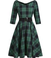 plaid v neck raglan sleeve belted dress