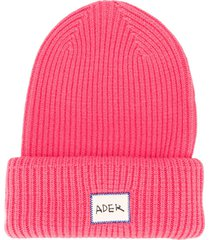 ader error ribbed logo beanie - pink