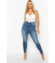 plus high waist front seam skinny jeans, light blue