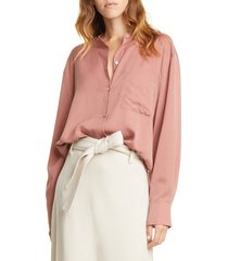 women's vince relaxed band collar blouse, size large - pink
