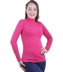 blusa color bright rose para dama manga larga cuello tortuga juno