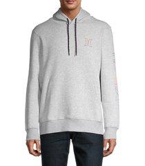 hurley men's electric fleece logo hoodie - grey - size xl