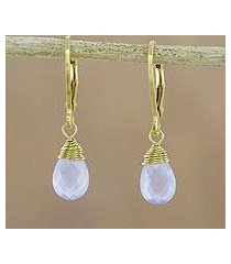 gold plated chalcedony dangle earrings, 'grand treasure in blue' (thailand)