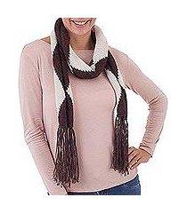 100% alpaca scarf, 'coffee and cream' (peru)