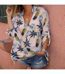 zanzea playa de las mujeres del verano camisa de la impresión de piña tops casual cruz v cuello de la blusa del tamaño extra grande -rosado