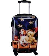 "chariot dog print 20"" hardside luggage carry-on"