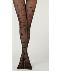 calzedonia 30 denier sheer tights with flock print woman black size 3/4