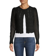 open-knit cotton-blend cropped cardigan