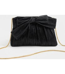 marla pleated bow clutch - black