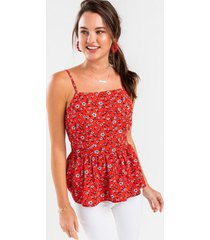 adelyn floral peplum tank top - red