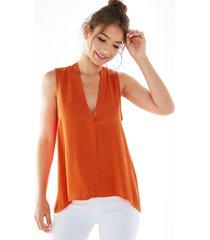 yoins naranja v profundo cuello blusa sin mangas