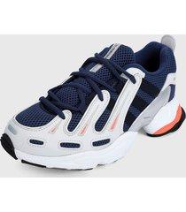 tenis lifestyle azul navy- blanco-plateado adidas originals eqt gazeller w