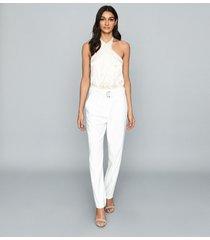 reiss lucienne - silk layered bodysuit in white, womens, size xl