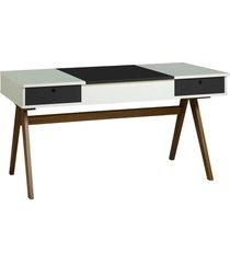 mesa escrivaninha delacroix 430 nogal/branco/preto - maxima