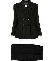 chanel pre-owned cc logo long sleeve jacket skirt suits - black