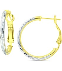 "giani bernini small textured hoop earrings in sterling silver & 18k gold-plate, 1"", created for macy's"